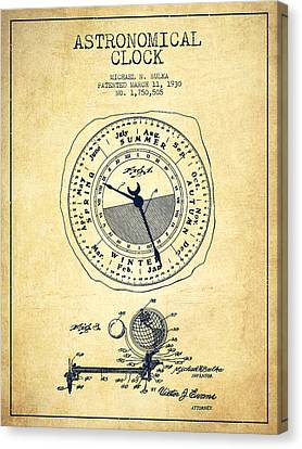 Astronomical Clock Patent From 1930 - Vintage Canvas Print by Aged Pixel