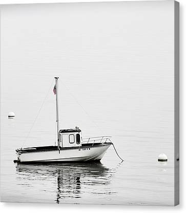 Down East Canvas Print featuring the photograph At Anchor Bar Harbor Maine Black And White Square by Carol Leigh
