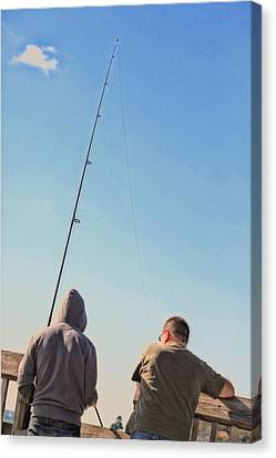 At Fishing Canvas Print by Karol Livote