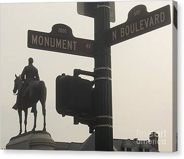 at Monument and Boulevard Canvas Print by Nancy Dole McGuigan