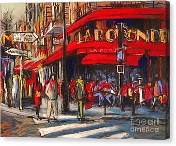 At The Cafe De La Rotonde Paris Canvas Print by Mona Edulesco