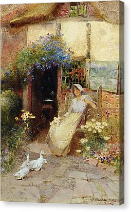 At The Cottage Door Canvas Print by Thomas Mackay