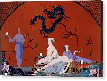 At The House Of Pasotz Canvas Print by Georges Barbier