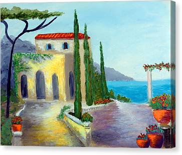 At The Seaside Amalfi Canvas Print by Larry Cirigliano