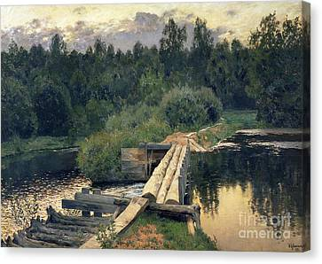 At The Shallow Canvas Print by Isaak Ilyich Levitan