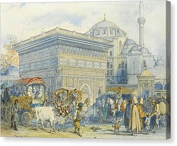 At The Tophane Fountain Canvas Print by Amadeo Preziosi