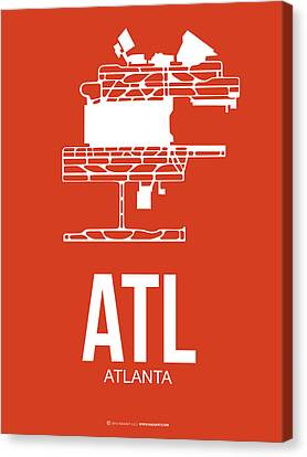 Atl Atlanta Airport Poster 3 Canvas Print by Naxart Studio