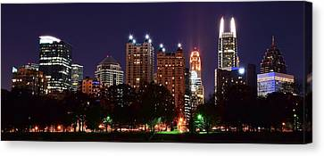 Atlanta Panoramic From Piedmont Park Canvas Print by Frozen in Time Fine Art Photography