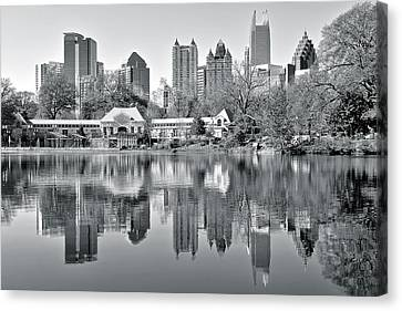 Atlanta Reflecting In Black And White Canvas Print by Frozen in Time Fine Art Photography