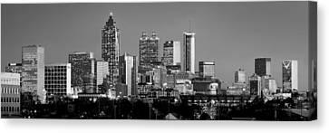 Atlanta Skyline At Dusk Downtown Black And White Bw Panorama Canvas Print by Jon Holiday