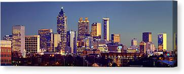 Atlanta Skyline At Dusk Downtown Color Panorama Canvas Print by Jon Holiday