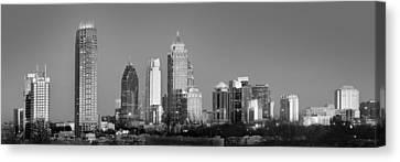 Atlanta Skyline At Dusk Midtown Black And White Bw Panorama Canvas Print by Jon Holiday