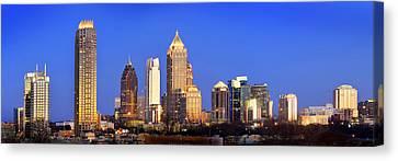 Atlanta Skyline At Dusk Midtown Color Panorama Canvas Print by Jon Holiday