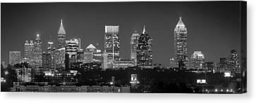 Atlanta Skyline At Night Downtown Midtown Black And White Bw Panorama Canvas Print by Jon Holiday