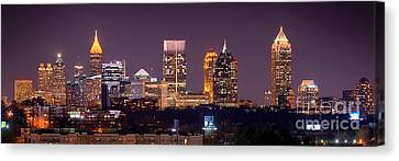 Atlanta Skyline At Night Downtown Midtown Color Panorama Canvas Print by Jon Holiday