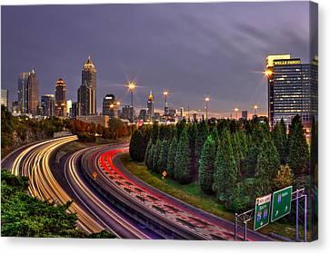 Atlanta Sundown Night Lights Canvas Print by Reid Callaway