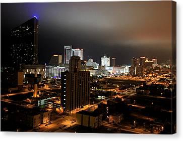 Atlantic City At Night Canvas Print by Deborah  Crew-Johnson