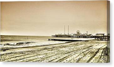Atlantic City Beach In Sepia Canvas Print by Bill Cannon