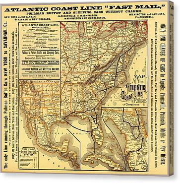 Atlantic Coast Line Railway Map 1885 Canvas Print by Mountain Dreams