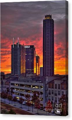 Atlantic Station Sunrise Reflections Atlanta Ga Canvas Print by Reid Callaway
