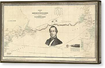 Atlantic Telegraph And Cyrus Field Canvas Print by Library Of Congress, Geography And Map Division