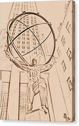 Atlas In New York City Canvas Print by Dan Sproul