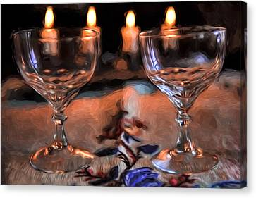 Atristic Paintirly Two #glasses And Four #lights Canvas Print by Leif Sohlman