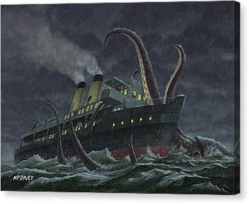 Attack Of Giant Squid Canvas Print by Martin Davey
