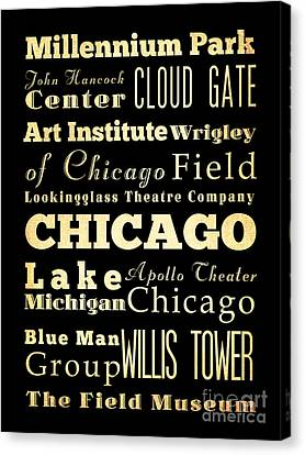 Attractions And Famous Places Of Chicago Illinois Canvas Print by Joy House Studio