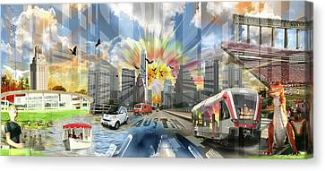 Atx Explosion Canvas Print by Andrew Nourse
