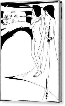 Aubrey Beardsley Woman In The Moon Canvas Print by