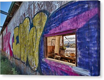 Audition Chair Graffiti Wall Canvas Print by Scott Campbell