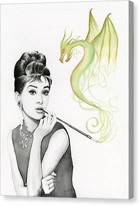 Audrey And Her Magic Dragon Canvas Print by Olga Shvartsur