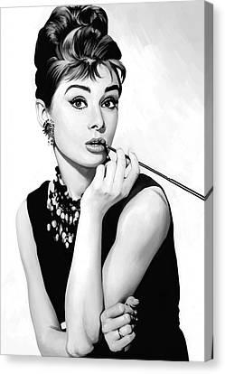 Audrey Hepburn Artwork Canvas Print by Sheraz A