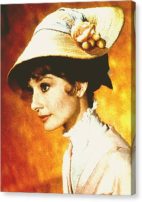 Audrey Hepburn - Impressionism Canvas Print by Georgiana Romanovna