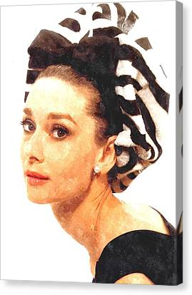 Audrey Hepburn In Watercolor Canvas Print by Gianfranco Weiss