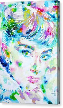 Audrey Hepburn  Watercolor Portrait.5 Canvas Print by Fabrizio Cassetta