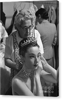 Audrey Hepburn Preparing For A Scene In Roman Holiday Canvas Print by The Phillip Harrington Collection