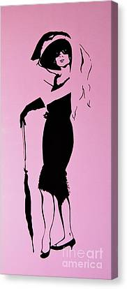 Audrey In Pink Canvas Print by Rebecca Mott
