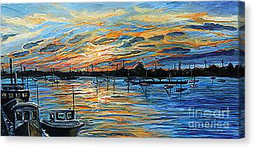 August Sunset In Woods Hole Canvas Print by Rita Brown