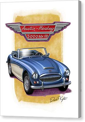 Austin Healey 3000 Blue-white Canvas Print by David Kyte