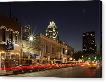 Austin Images - Sixth Street And The Austin Skyline 2 Canvas Print by Rob Greebon