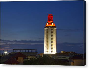 The University Of Texas Tower After A Longhorn Win In Austin Texas Canvas Print by Rob Greebon