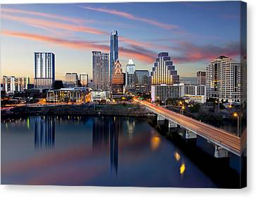 An Image Of The Austin Skyline And Lady Bird Lake From The Hyatt Hotel Canvas Print by Rob Greebon