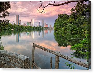 Colorado River Canvas Print featuring the photograph Austin Skyline From Lou Neff Point by Silvio Ligutti