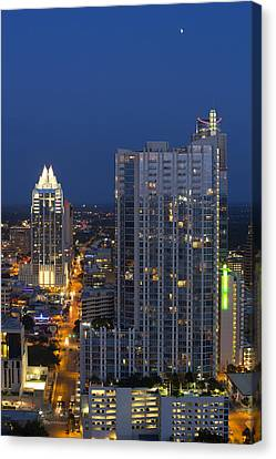 Austin Skyline Images - Frost Tower And The 360 Condos Canvas Print by Rob Greebon