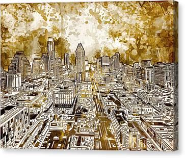 Austin Texas Abstract Panorama 6 Canvas Print by Bekim Art