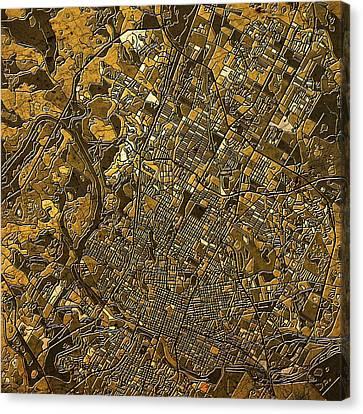Austin Texas Map 4 Canvas Print by Bekim Art