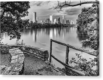 Colorado River Canvas Print featuring the photograph Austin Texas Skyline Lou Neff Point In Black And White by Silvio Ligutti