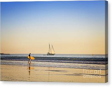 Australia Broome Cable Beach Surfer And Sailing Ship Canvas Print by Colin and Linda McKie